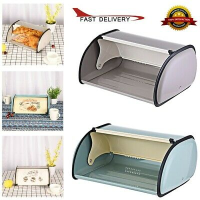 Metal Bread Box With Roll Top Lid kitchen Storage Containers Home Kitchen Gifts