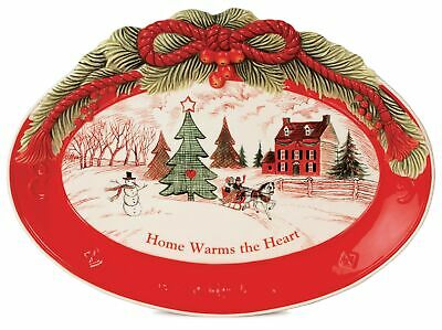 Fitz and Floyd 63-1096 Ceramic 'Home Warms The Heart' Oval Sentiment Tray