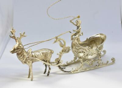 Victorian Sterling Silver Sleigh and Reindeer with Boy