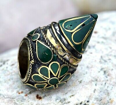 Green Huge Kuchi Afghan Tower Ring Ethnic Tribal Jewelry Antique Boho Big Spike
