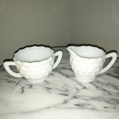 Vintage White Milk Glass Creamer and Sugar Bowl With Handles Set of 2