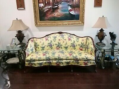 Antique Vintage Louis XV Styled Loveseat / Sofa / Settee. Carved Oak Wood Frame
