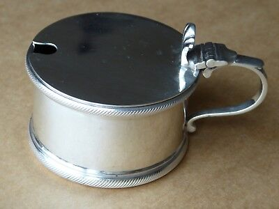 Vintage Sterling Silver Drum Mustard Pot Blue Glass Liner Lon 1936 102g Barnards