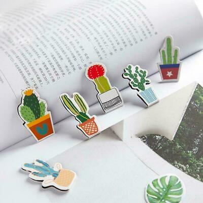 4Pcs/pack Green Cactus Magnet Bookmark Paper Clip School Supply Office Gift U3R7