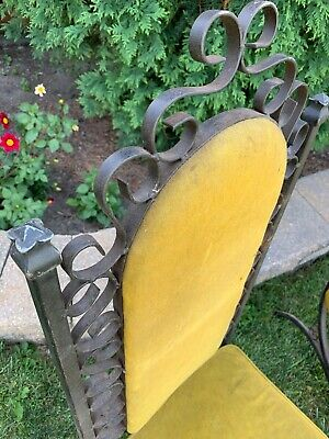 Antique Vintage Set Of 2 Mid Century Virtue Bros MFG Metal Chairs Upholstered