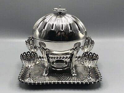 Lee & Wigfull Sheffield Domed Silverplate Egg Coddler with Egg Cups
