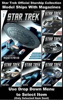 Star Trek Official Starship Collection Model Spaceships With Magazines - New