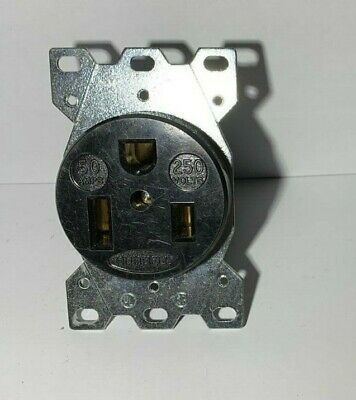 Hubbell HBL9367 50A 250V Straight Blade Receptacle Black