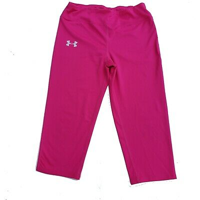 Girls Under Armour Capris Size L Fitted Pink Legging Athletic Athleisure YLG