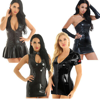 Women Black PU Leather Wetlook Bodycon Mini Dress Cocktail Party Nightclub Teddy