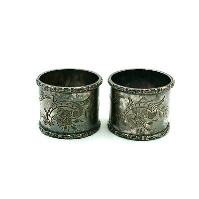 2 Antique Silver Plated Napkin Rings Hand Engraved Flowers Flourish Unpolished