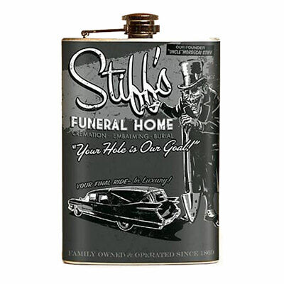 Stiff's Funeral Home Stainless Steel Flask Vintage Monster Travel Canteen