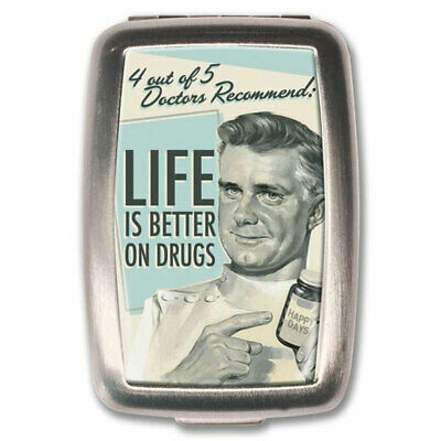 Life Is Better On Drugs Retro Pill Box Vitamin Case Stash Storage Container