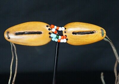 106# RARE! From Late 19th To Early 20th Century INUIT Fossil BEADED Goggles