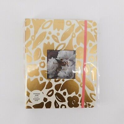 Kate Spade NY Photo Insert Agenda Gold Floral Aug '18- Dec'19 Large Planner NEW