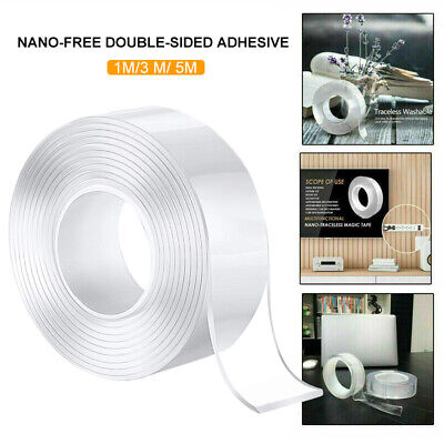 Reusable Magic Nano Tape Double Sided Traceless Adhesive Clear Tape Removable Zt