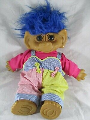 """Troll Doll Large 47cm or 18"""" Plastic Head hands and feet. Vintage Blue Hair."""