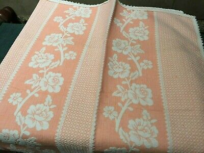 Vintage French Cotton Bedspread Shabby Chic 1950s Roses stripe Throw 2m20x1m50