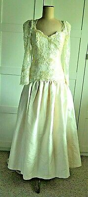 Vintage 80's Sequin & Lace Bodice Silk Wedding Gown
