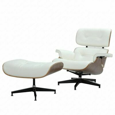Eames Lounge Chair & Ottoman Reproduction Style White Walnut Italian Leather2019