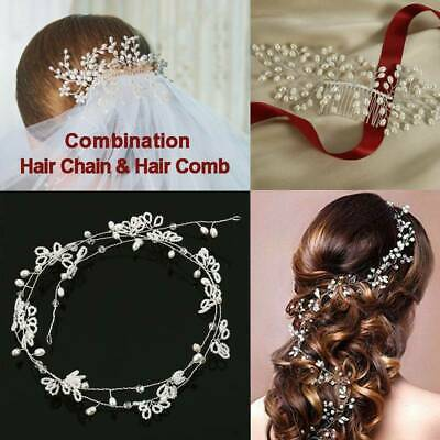 Wedding Hair Vine Bridal Accessories Crystal Pearls Headband Chain Headpiece AU