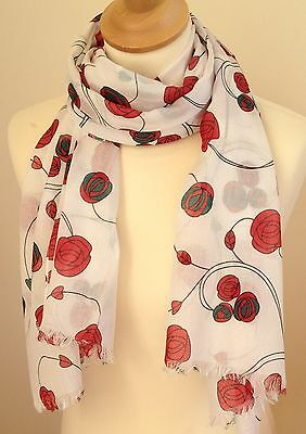Red Roses Scarf In Mackintosh Style  Cotton Print By Juniper