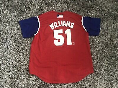 best sneakers 63dd8 18416 RARE VINTAGE NEW YORK YANKEES Bernie Williams RED BLUE JERSEY PUERTO RICO  JERSEY