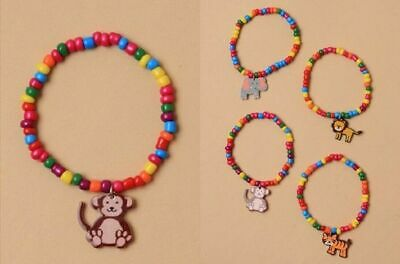 New Bright Colour Bead Necklace & Bracelet Set with Animal Charm Lion Tiger Monk