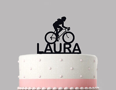 Woman Cycling Bicycle Birthday Cake Topper Decoration Personalised Acrylic.793