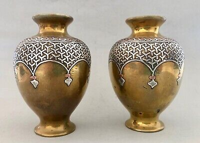 2 Superb Antique Alfred Salzmann Vases Silver on Bronze Inlaid Vase Signed Pair