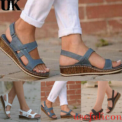 Womens Ankle Strap Gladiator Summer Beach Low Wedge Heels Sandals Shoes Size 4-7