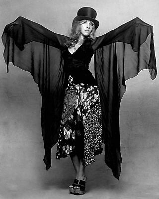 Stevie Nicks Fleetwood Mac Black Dress and Top Hat B/W  8x10 Glossy Photo