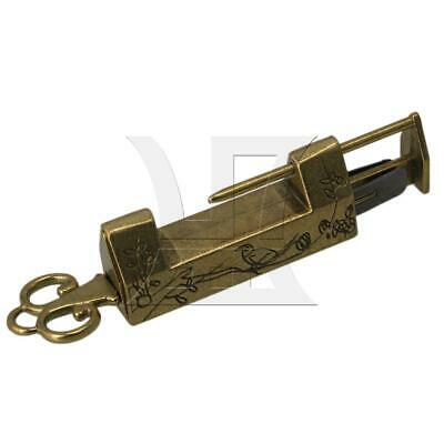 Green Bronze Antique Chinese Old Flower & Bird Lock Padlock