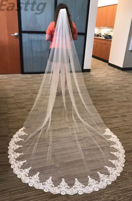 White Ivory Cathedral Length Wedding Veil One Layer Lace Bridal Accessories Veil