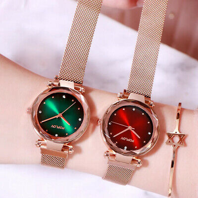 Women Starry Sky Casual Quartz Watch Stainless Steel Buckle Magnet Strap Fashion