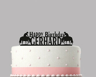 Horse Rider Cowboy Birthday Cake Topper Decoration Personalised Acrylic.282