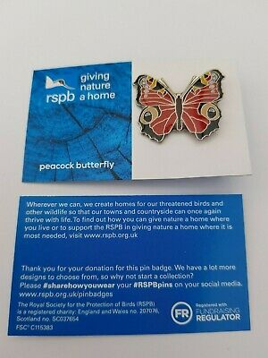 RSPB Pin Badge | peacock butterfly GNAH BLUE (01531)