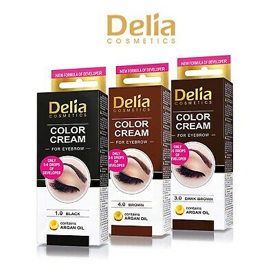 Delia Eyebrow Tint Black Dark Brown Eyelash Dye Color Cream Henna KIT 15ml
