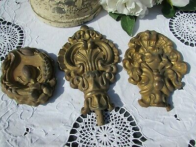 ANTIQUE FRENCH THREE TIMEWORN REPOUSSE TOLE MOUNTS. c1850