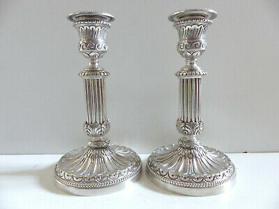 Superb Pair Of Antique French Silver Plate Chiseled Bronze Candlesticks