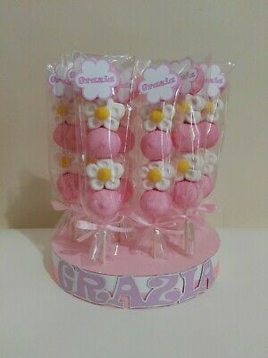 base  20 spiedini marshmallow caramelle compleanno sweet table rosa