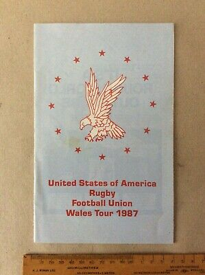 Rugby Programme- United States Of America Rfu.  Wales Tour 1987.
