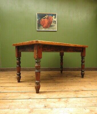 Distressed Pine Kitchen Dining Table to seat 6, butcher block top