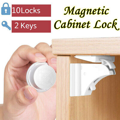 10pc Magnetic Cabinet Locks Baby Safety Invisible Child Proof Cupboard Drawer