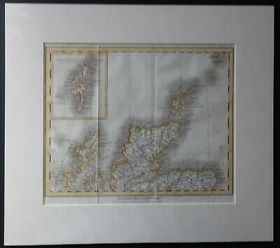 Original engraved map of North Scotland published in 1833. Hand coloured.