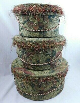 "VTG Nesting Hat Boxes 15"" 12"" 10"" Floral cloth  material"