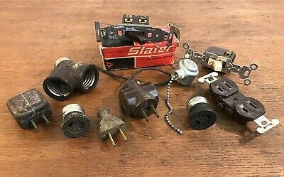 Vintage Lot of Electrical Parts Bakelite Plugs, Sockets, Light Switches Outlets