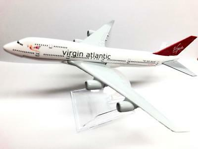 16cm Virgin Atlantic B 747 Die Cast Metal Desk Aircraft Plane Model UK SELLER