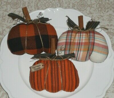 3 Primitive Farmhouse Halloween Pumpkins Bowl Fillers Ornaments Ornies Tucks