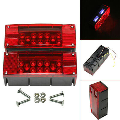 Universal 2 x 12 LED Waterproof Rectangular Left Right Turn Taillights Red New